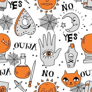Ouija cute halloween pattern october fall themed fabric print white orange by andrea lauren