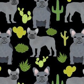 frenchie fabric french bulldog and cactus design - black