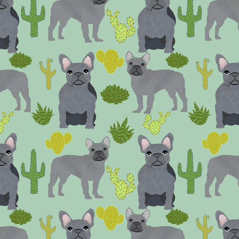 frenchie fabric french bulldog and cactus design - mint fabric by petfriendly on Spoonflower - custom fabric