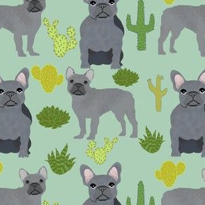 frenchie fabric french bulldog and cactus design - mint