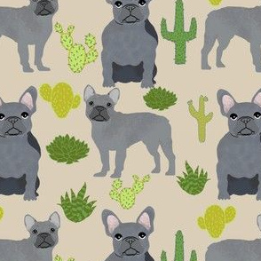 frenchie fabric french bulldog and cactus design - sand