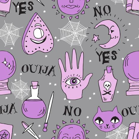 Ouija cute halloween pattern october fall themed fabric print grey purple by andrea lauren fabric by andrea_lauren on Spoonflower - custom fabric