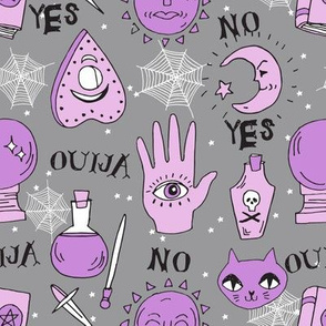 Ouija cute halloween pattern october fall themed fabric print grey purple by andrea lauren