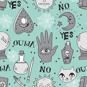 Ouija cute halloween pattern october fall themed fabric print mint by andrea lauren
