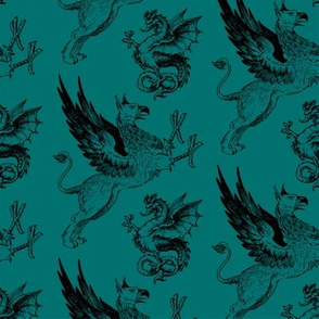 griffin and dragon teal - potter's world