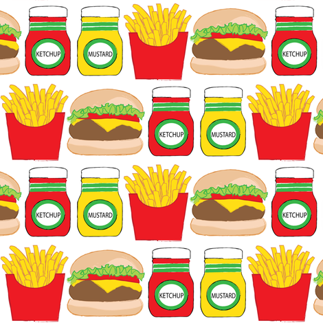 cheeseburger fries ketchup mustard fabric by lilcubby on Spoonflower - custom fabric