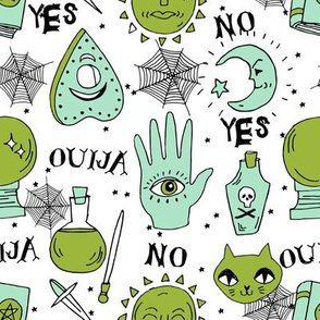 Ouija cute halloween pattern october fall themed fabric print white green by andrea lauren