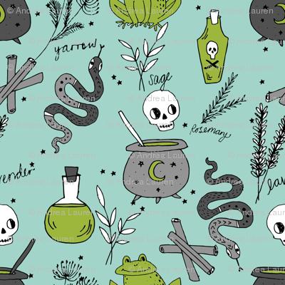Halloween spooky cauldron snakes potions pattern by andrea lauren green