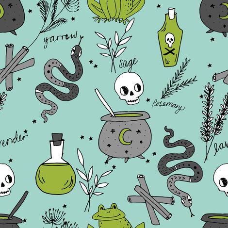 Halloween spooky cauldron snakes potions pattern by andrea lauren green fabric by andrea_lauren on Spoonflower - custom fabric