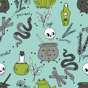 Halloween spooky cauldron snakes potions pattern by andrea lauren green
