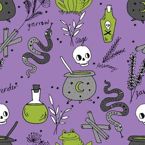 Halloween spooky cauldron snakes potions pattern by andrea lauren purple green