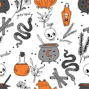 Halloween spooky cauldron snakes potions pattern by andrea lauren white orange