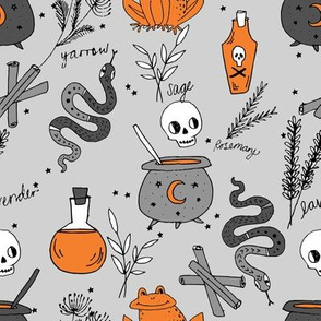 Halloween spooky cauldron snakes potions pattern by andrea lauren grey orange