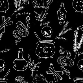 Halloween spooky cauldron snakes potions pattern by andrea lauren black and white