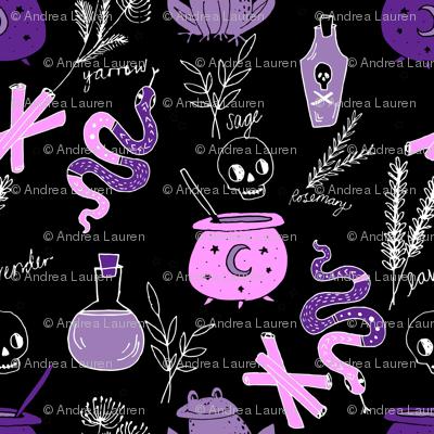 Halloween spooky cauldron snakes potions pattern by andrea lauren black