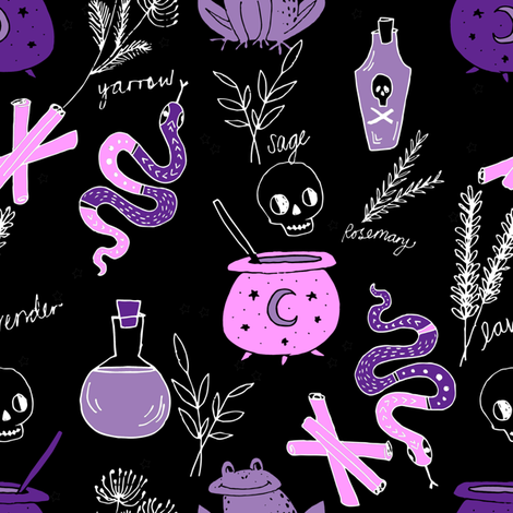 Halloween spooky cauldron snakes potions pattern by andrea lauren black fabric by andrea_lauren on Spoonflower - custom fabric
