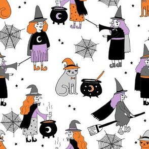 Witches halloween spooky cute pattern with cats by andrea lauren
