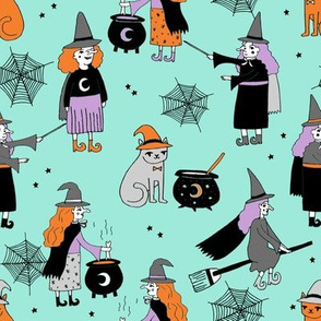 Witches halloween spooky cute pattern with cats by andrea lauren turquoise
