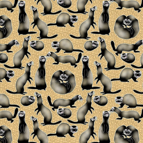 A Busyness of Sable Ferrets on Yellow