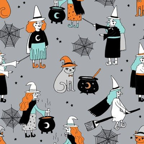 Witches halloween spooky cute pattern with cats by andrea lauren grey and orange