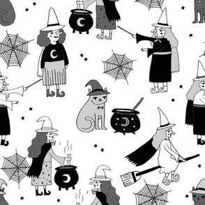 Witches halloween spooky cute pattern with cats by andrea lauren black and white