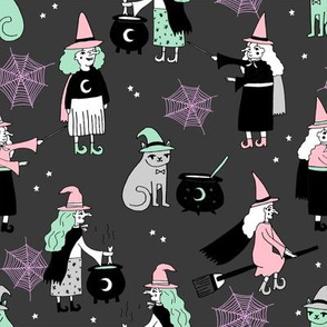 Witches halloween spooky cute pattern with cats by andrea lauren dark grey