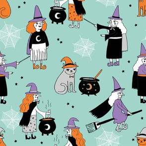Witches halloween spooky cute pattern with cats by andrea lauren mint