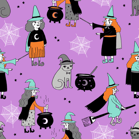 Witches halloween spooky cute pattern with cats by andrea lauren purple fabric by andrea_lauren on Spoonflower - custom fabric
