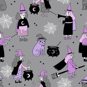Witches halloween spooky cute pattern with cats by andrea lauren grey