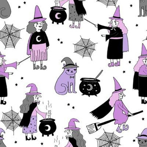 Witches halloween spooky cute pattern with cats by andrea lauren white