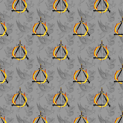 sword on fire gray - potter's world fabric by stofftoy on Spoonflower - custom fabric