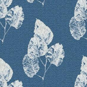 Ghost Leaves on Blue