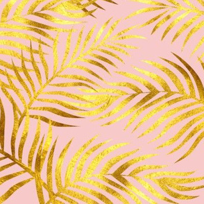 Palm Leaves: Gold-RoseQuartz