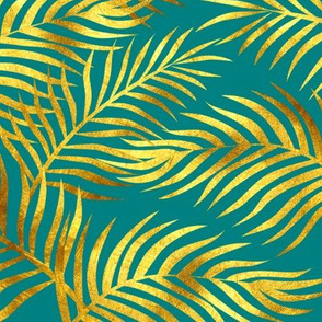 Palm Leaves: Gold-Teal