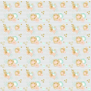 gray stripes peach gold and aqua flowers