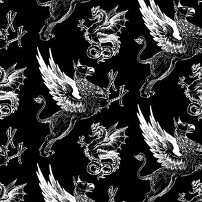 griffin and dragon b/w - potter's world
