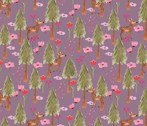 Fall 2017 Deers in Forest in Orchid - BIG fabric by thislittlestreet on Spoonflower - custom fabric