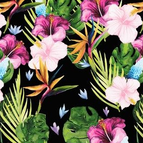 Vintage tropical greenery | black