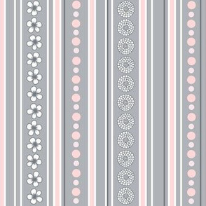 Pink and Gray Flower Stripes