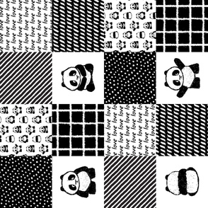 pandamonium patchwork wholecloth (90) || monochrome nursery fabric