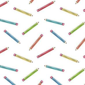 multi pencils on white