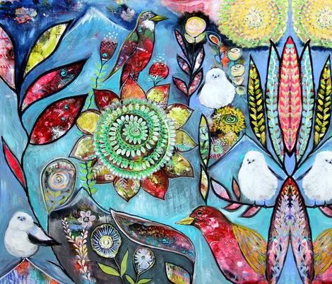 bohobirds fabric by carolscanvas on Spoonflower - custom fabric