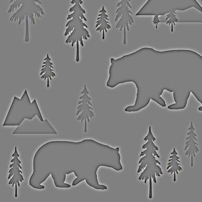 Bears mountains forest gray negative