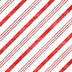 watercolor candy cane stripes - red