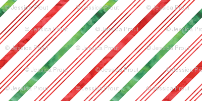 watercolor candy cane stripes - green and red