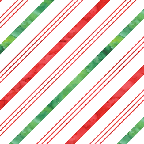 watercolor candy cane stripes - green and red fabric by littlearrowdesign on Spoonflower - custom fabric