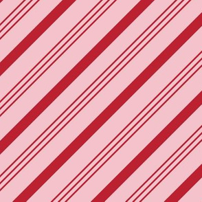 candy cane stripes - holiday red on pink