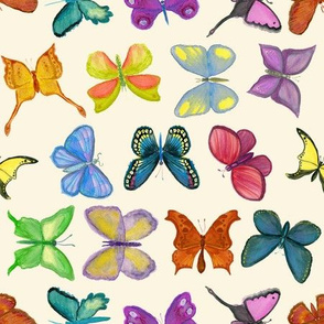 Bright Watercolor Butterflies