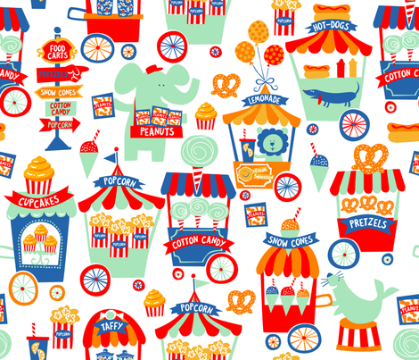 CIRCUS FOOD CARTS fabric by bzbdesigner on Spoonflower - custom fabric