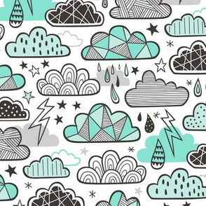 Clouds Bolts Lightning Raindrops Geometric Patterned Cloud Doodle Mint Green